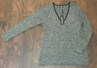 Women's Karl Lagerfeld Paris Black & White Blend Knit Sweater XL New with Tags