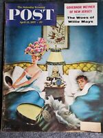 1957 APRIL 13 THE SATURDAY EVENING POST MAGAZINE - WILLIE MAYS