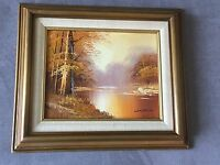 Autumn Pond Landscape Painting Oil on Board Signed Lantrell
