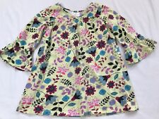 Hanna Andersson Size 120 6-7 years Green Multi-colored Floral Cotton Tunic Dress