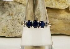 Natural Untreated Thai Blue Sapphire 3-5x4 mm Ring 925 Sterling Silver Size 7