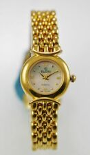 Elgin Watch Womens Stainless Gold Water Resistant Battery Easy Read MOP Quartz