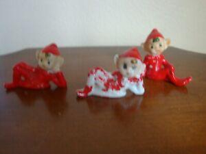 Vtg Pixie Elves Lot of 3 Japan Ceramic  Pixie Elf Figurine Red Suits