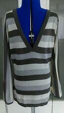 NEU! Strick-Pullover m. V-Ausschn., Grau/Beige/Silber gestreift, Größe 36/38