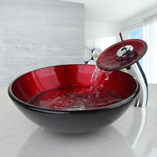 Bathroom Red Art Tempered Glass Basin Vanity Sink Faucet Waterfall Mixer Tap Set