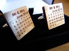 & Dated: Groom, Best Man, Usher Personalised Wedding Cufflinks Wood - Engraved