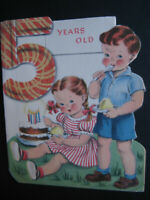 1950s vintage greeting card Norcross diecut BIRTHDAY To 5-Yr-Old Kids w/ Cake