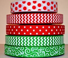 5 YDS GROSGRAIN RIBBON MIXED LOT PRINTED MERRY CHRISTMAS RED EMERALD & WHITE U2