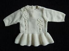 Baby clothes GIRL newborn 0-1m NEXT soft acrylic cream knitted long sleeve dress