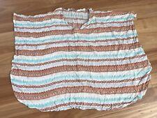 Ladies White Brown Sleeveless Polycotton Kaftan Style Top By Angel Biba Size M/L