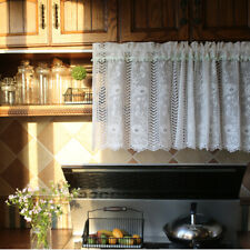 Pretty Flower Lace White Café Curtain with Chic Soft Green Small Ball Valance