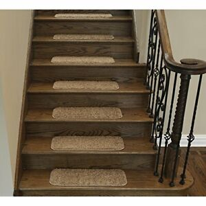"""Sweethome Stores Non-Slip Shag Carpet Stair Treads 9""""X26""""-14 Pack- Camel Solid"""
