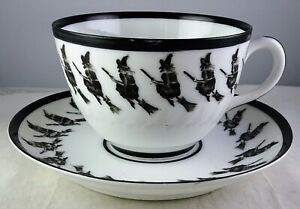 Antique Petersyn Black Witch Halloween Fortunetellers Cup & Saucer Set
