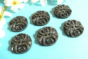"""323TERC Stunning Buttons Vintage """" Engraving """" Grey Lot Of 6 Buttons ÉP.1950"""
