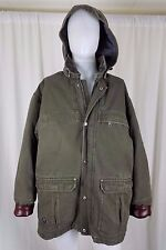Sorel Hooded Insulated Canvas Field Work Jacket Parka Coat Mens L Leather Trim