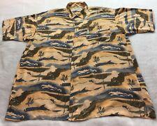 Columbia Men's Size L 100% Rayon Button Front Shirt Fishing Print Short Sleeve