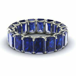 3.40 Ct New Real Blue Sapphire Wedding Band 14K White Gold Ring Size L M N O P Q