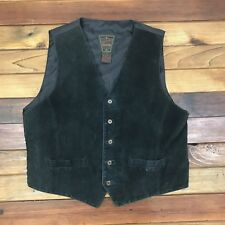 Dual Control Brand Riding Vest Suede Leather Men's XL Wool Plaid Back Western