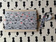 HAPPY CATS RIBBON T78 GREY BLACK CAT EMBROIDERED DECORATIVE HABERDASHERY TAPE