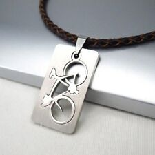 Silver Army Military Dog Tag Bicycle Pendant Brown Braided Leather Necklace