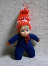 GIRL BEAN DOLL WITH RED BOBBLE HAT NEW NO BOX EL GRECO MADE IN GREECE GREEK VTG