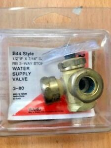 "3 Way, Solid Brass Dual Angle Stop Water Supply Valve 1/2"" IP x 7/16"" Slip Joint"