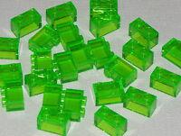 LEGO LOT OF 25 NEW TRANS-BRIGHT GREEN 1 X 2 BRICKS BUILDING BLOCKS TRANSPARENT