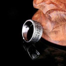 Vintage Men Punk Silver Opening Adjustable Rhombus Ring Stainless Steel Band