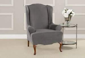 NEW Sure Fit heavyweight Stretch  Suede Wing Chair Slipcover slate gray