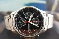 Sporty 39mm 7T92 08A0 Seiko SS black dial 3 reg Chrono Quartz Date
