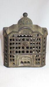Antique Cast Iron Dome Skyscraper Building Still Bank Coin Metal