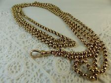 Antique Victorian 9ct 9carat Rose Gold Long Guard muff Chain 62'' 30grams