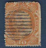 1860 US STAMP #38 USED 30C BENJAMIN FRANKLIN, RARE SCARCE