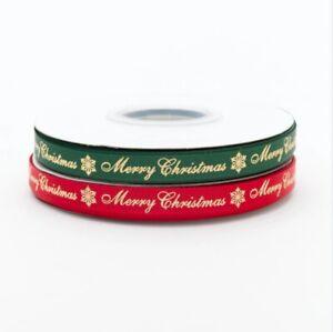 Habicraft Green Red Merry Christmas Ribbon Grossgrain & Satin PER METRE £1.49