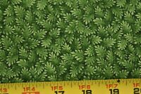 By 1/2 Yd, Green Leaves on Dark-Green Quilt Cotton, Cranston, P773