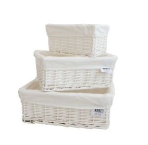 Wicker Storage Basket/Hamper With Lining In Small/Medium/Large Ideal Gift