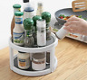 Rotating Condiment Storage Rack Round Shelf For Kitchen Pantry Cabinet Organizer