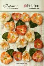 Apricot Fabric Velvet Pansies 7 Flowers25mm & 8 Flowers 35mm With Leaves Petaloo