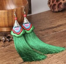 Earring Boho Festival Party Boutique Uk Green Luxury Long Drop Tassel Fashion