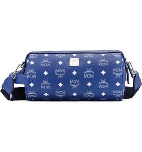 Authentic MCM Klassik Visetos Blue Adjustable Crossbody Bag NWT