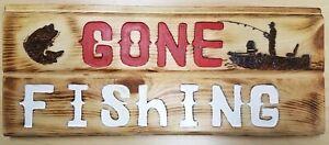 "Wood Lodge ""Gone Fishing"" Sign Handmade Pyrographic Custom Fishing Wall Art"