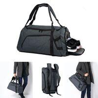 Waterproof Duffle Gym Bag Backpack Travel w/ Shoes Sport Compartment Men Handbag