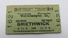 Railway ticket, Wolverhampton- Smethwick. Issued 1957.