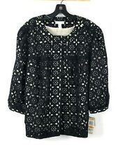New Charter Club Laser Cut Swing Jacket Womens 16W Black Nude Button Casual $109