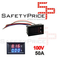 Voltimetro Amperimetro 100V 50A Digital DC Rojo Azul voltmeter Panel SP