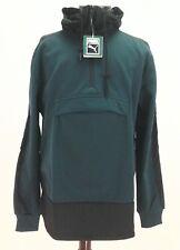 Mens Puma Evo Embossed Savannah 1/2 Zip Hoodie Hooded Pullover Green Bk XL $88