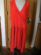 LAUREN RL-SLVLS-ORANGE-KNEE LENGTH DRESS-BELT/TIE-PLEATING-LONGER SIDES-1X-NWT