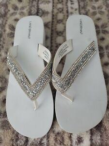 Lane Bryant 11/12W White Rhinestone Flip Flop Wedding Sandals Shoes Beach Thongs