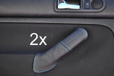 blue stitch FITS VW GOLF MK4 4 IV 2X REAR LEATHER DOOR HANDLE COVERS
