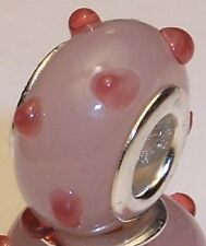 Pink Rose Mauve Polka Dot Murano Glass European Bead for Silver Charm Bracelet